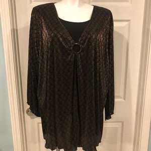 Maggie Barnes Blouse Women's 4X Black/Gold Nice